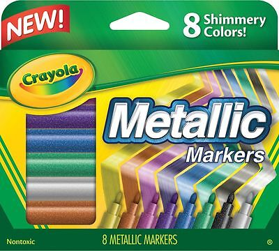8PC Crayola Metallic Rich Radiant Shiny Colour Markers - Made in ITALY
