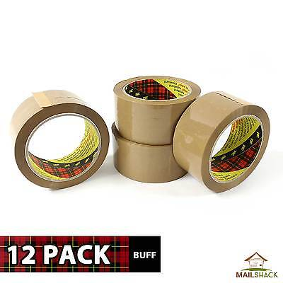 12 ROLLS | 3M Scotch Packing Parcel Sellotape Tape STRONG 66m x 48mm BUFF BROWN