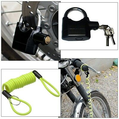 Motorcycle Disc Lock Padlock Motion Sensor Activated Alarm + Reminder Cable