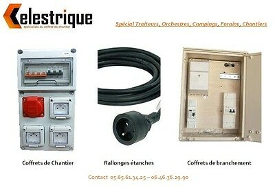 "Coffret De Chantier Triphase 6/18 Kws + 10M Cable ""Toutes Options"""