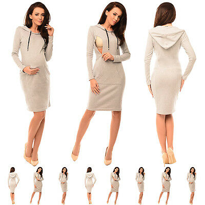 Purpless Maternity Pregnancy and Nursing Hooded Bodycon Dress with Pocket  6211 c8d0dff8874