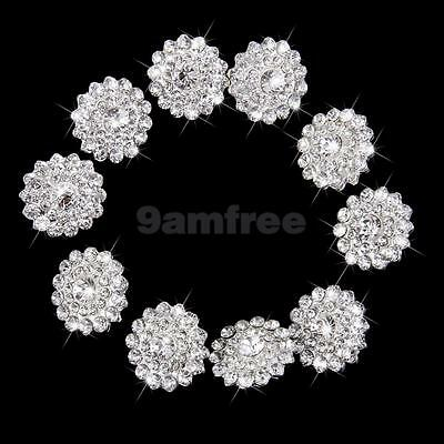 10 Stunning Silver Flower Shank Buttons 21mm Clear Crystal Rhinestone Crafts