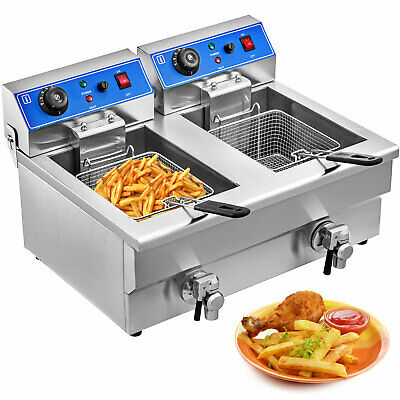 2x10L Stainless-Steel Commercial Twin Double Tank Electric Deep Fat Fryer Chip