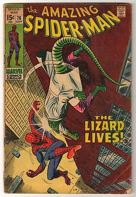 MARVEL Comics SPIDERMAN SILVER age #76 1969 LIZARD MAN AMAZING VG-