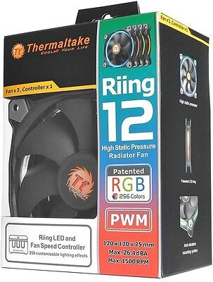 Thermaltake Riing 3 Pack 120mm RGB LED SP Fans w/ Controller[CL-F042-PL12SW-B]