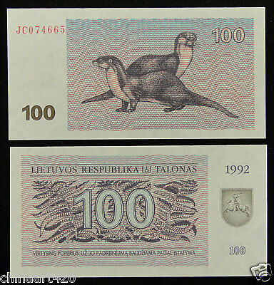 Lithuania Paper Money 100 Talonas 1992 UNC