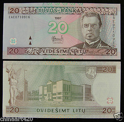 Lithuania Paper Money 20 Litu 1997 UNC