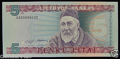 Lithuania Paper Money 5 Litu 1993 UNC