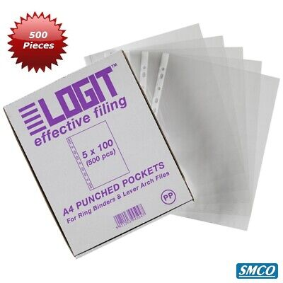 Qty 500 A4 Clear Punched Pockets Multi Punched To Suit All Binders Antistatic