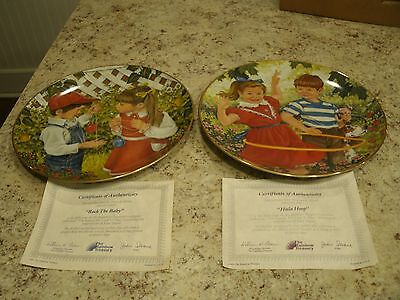 Two VTG 1984 Rainbow Treasury Rock the Baby / Hula Hoop Collector Plates w COAs