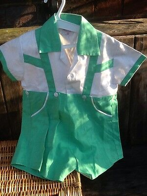 Vintage Toddler Outfit Cotton Empire Make Telsa 20 Green & White Unworn