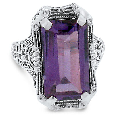 #139 6.5 CT COLOR CHANGING LAB ALEXANDRITE 925 SILVER VICTORIAN RING Sz 7.75