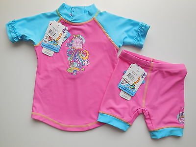 NEW Bright Bots baby girl rash top + shorts bathers UPF 50+ size 00 Fits 3-6 m