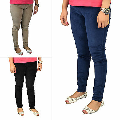 Ladies Slim Fit Stretchy Corduroy Elastic on Waist Jeans Trouser Womens Jeggings