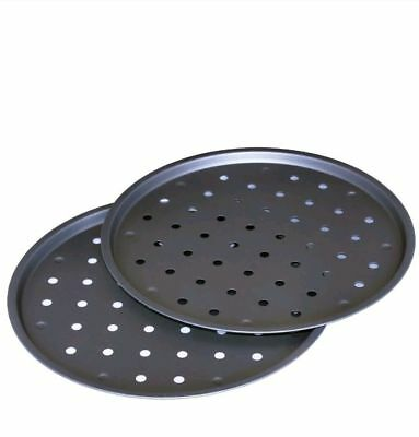 Set Of 2 Round Pizza Pan Tray Crisper Vented Non Stick Size 14 Inch 35Cm