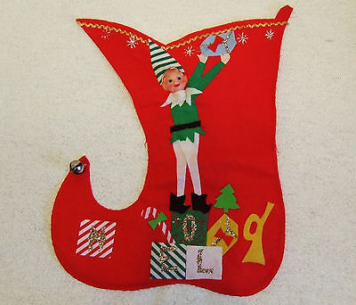 Unique Vintage Christmas Knee Hugger Elf Stocking - Made in Japan - Great Shape!