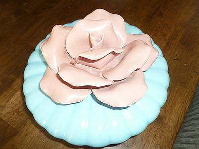 Vintage California Pottery - Round Cigarette Tray - Candy Bowl - Pink Rose - MCM