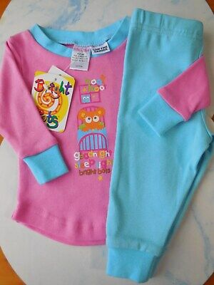 NEW Bright Bots baby girl stretch cotton pajamas size 000 Fits 0-3m RRP $24.95