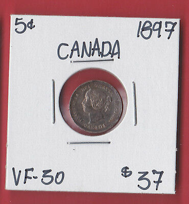 1897 Canada Silver Five Cent Coin See Scans 5318  VF - 30