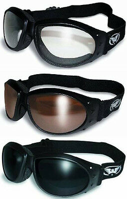 3 Padded ATV Motorcycle Goggles Googles + BAGS Copper Super Dark Clear Offroad