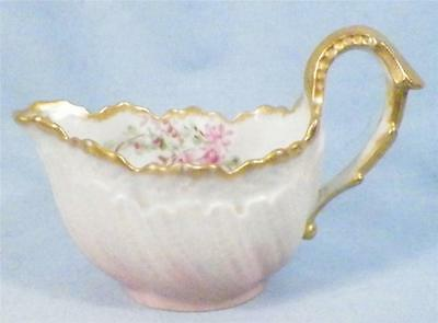 Antique Pink Porcelain Creamer Hand Painted Flowers Gold Trim A Beauty 1901