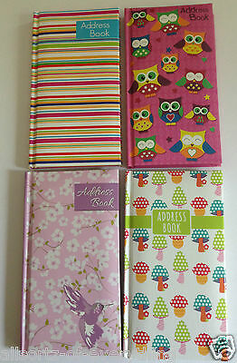 A-Z Indexed Slim Telephone Padded Address Book Cream Pages Owls Flowers Stripes