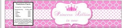 Princess Water Bottle Labels Personalized