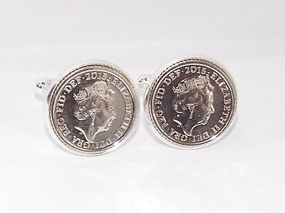 Luxury cufflinks made from 2015 5p piece for a 2015 Wedding / Anniversary