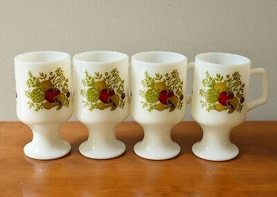 Vintage Set of 4 Milk Glass Footed Mugs SPICE OF LIFE by Corning
