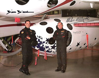 BRIAN BINNIE+MIKE MELVILL autographed 8x10 photo      SPACE SHIP ONE ASTRONAUTS