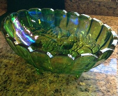 Large Green Carnival Glass Footed Fruit Bowl - Very Old Vintage