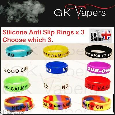 x3, Silicone Vape bands, for your 22mm mod/tank, will stretch to fit upto 24mm