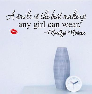 Marilyn Monroe Smile Makeup Quote Vinyl Wall Stickers Art Mural Home Decor New