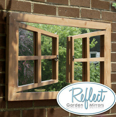 Double Window Illusion Garden Mirror Outdoor Perspective Frame Glass Wall Art
