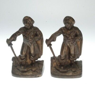 Vintage Pair Of Cast Iron W/ Bronze Finish Swashbuckler Bookends Poss. Nuart