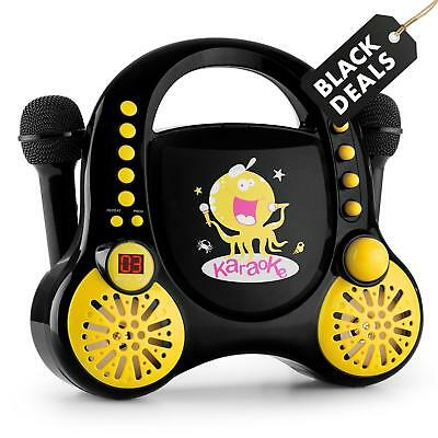 Auna Rockpocket Stereo Kinder Karaoke Cd Player Mit Stickerset 2 Mikros Schwarz