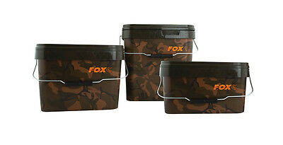 Fox NEW Carp Fishing Square Camo Bait Bucket 17 Litre x2