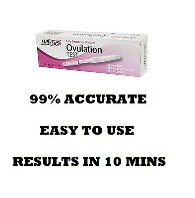 5 TESTS IN A BOX EASY TO USE Ovulation Tests Over 99% Accurate 10 Mins PREGNANT