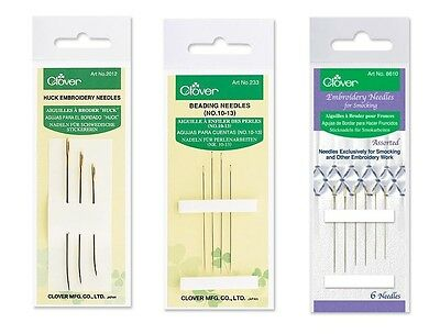 Clover Huck Embroidery OR Beading OR Smocking Needle Pack SELECT YOUR DESIGN!