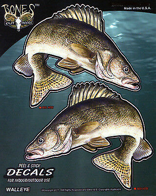 Walleye Decal Bumper Sticker Gifts Men Fishing Left & Right Facing Mirror Images
