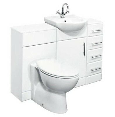 1350mm High Gloss White Bathroom Vanity Cabinet, Drawer Cupboard, BTW Toilet