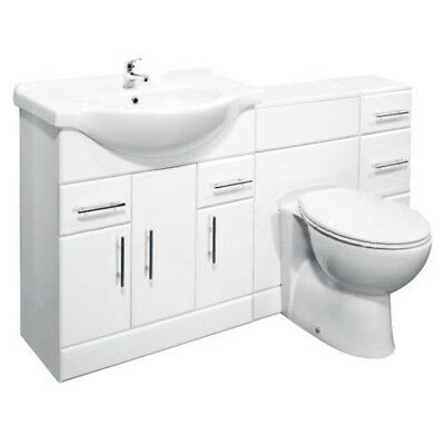 1700mm High Gloss White Bathroom Vanity Cabinet Unit & BTW Toilet Furniture