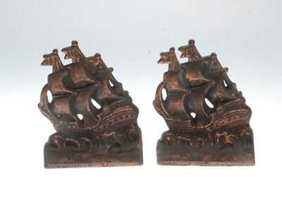 Vintage Pair Of Verona Cast Iron Spanish Galleon Bookends