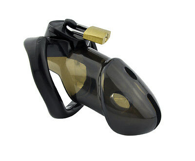 Black  Male Polycarbonate Locking Chastity Device   A163-2