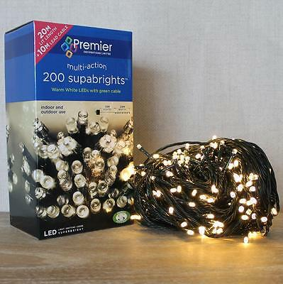 Premier 200 Multi Action Supabright LED Christmas Lights in Warm White 20m