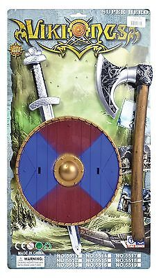 Viking Warrior #sword Shield And Axe Kit Blue/red Fancy Dress Props
