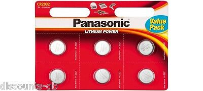 6 x Panasonic CR 2032 3Volt Lithium Coin Batteries 3V, PC, Bell, Remote Battery