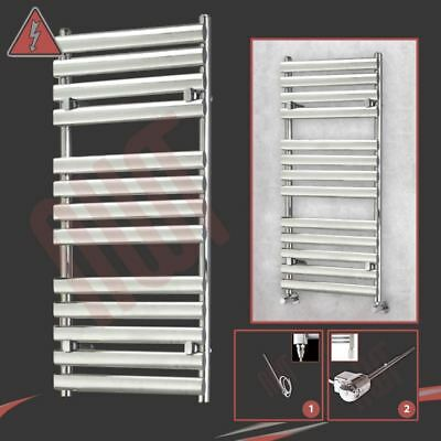 "500mm(w) x 1200mm(h) Pre-Filled Electric ""Brecon"" Chrome Towel Rail 400W / 600W"
