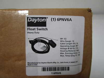 Dayton Float Switch 6Pnv6A *new In Box *