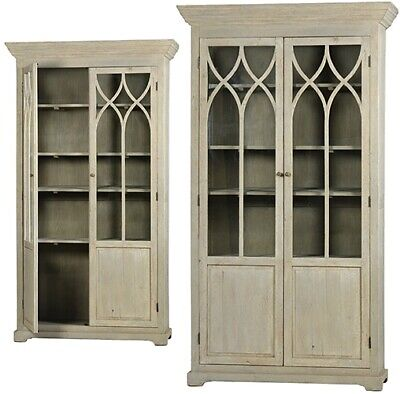 "51"" Wide Cabinet Reclaimed Pine Antique Grey Finish Glass Panels In Doors Ad 708"